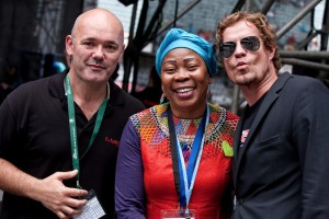 Evan Roberts with Gcina Mhlophe and Arno Carstens